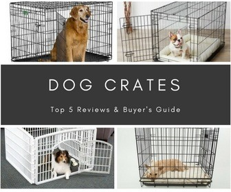 A collage of 4 different dog crates of various sizes