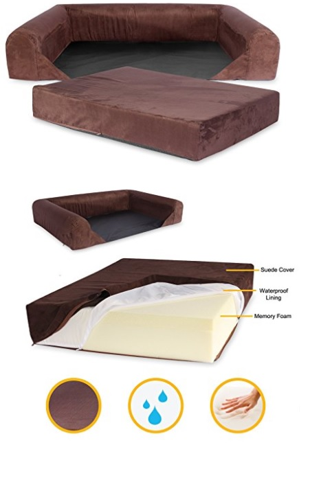 Brown Memory Foam Dog Bed with Removable Cover
