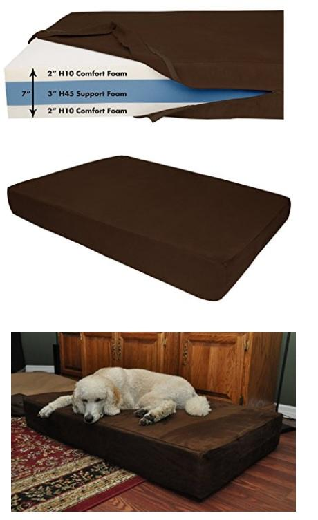 Chocolate Color Top Rated Orthopedic Large Breed Dog Bed