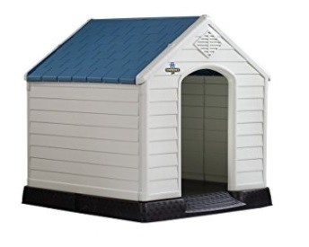 Outdoor dog house with covered roof