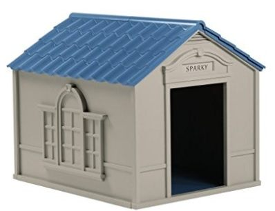 A plastic large dog house for outdoor use with blue roof