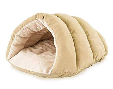 a really comfortable and plush cave dog bed