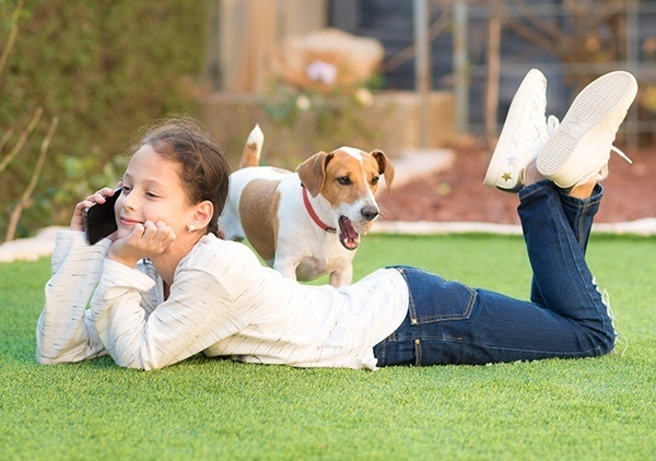 Child on the grass ignoring her dog