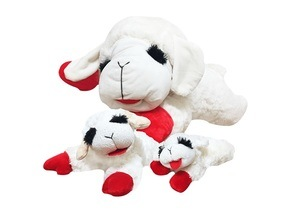A plush lamb dog toy with squeakers