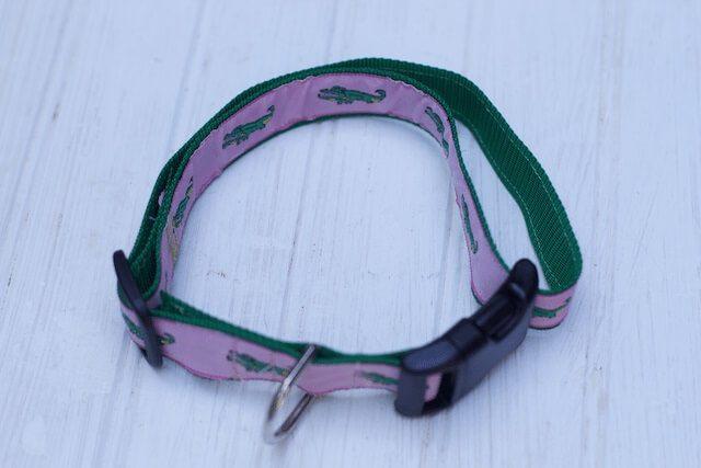 A finished adjustable dog collar