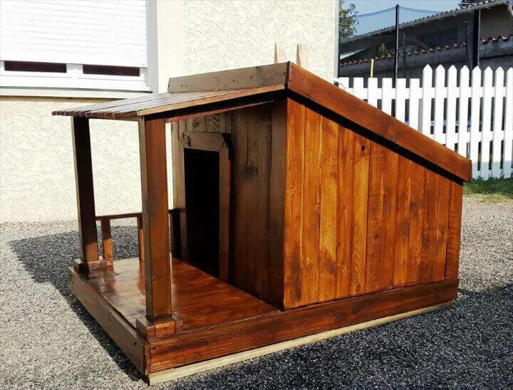 Stained DIY Pallet Dog House With Veranda